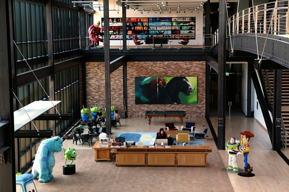 The main building atrium, including Brave art, seen on May 15, 2012 at Pixar Animation Studios in Emeryville, Calif. (Photo by Deborah Coleman / Pixar)