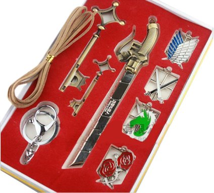 Attack on Titan Emblems, Keychains, Key Necklace and Sword 9 Piece Jewelry Set,Shingeki no Kyojin Set
